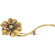 Victorian Era Flower Brooch - 14k Yellow Gold Antique Women's Pin
