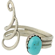 Vintage Native American Ring - Sterling Silver Turquoise Adjustable Size 9