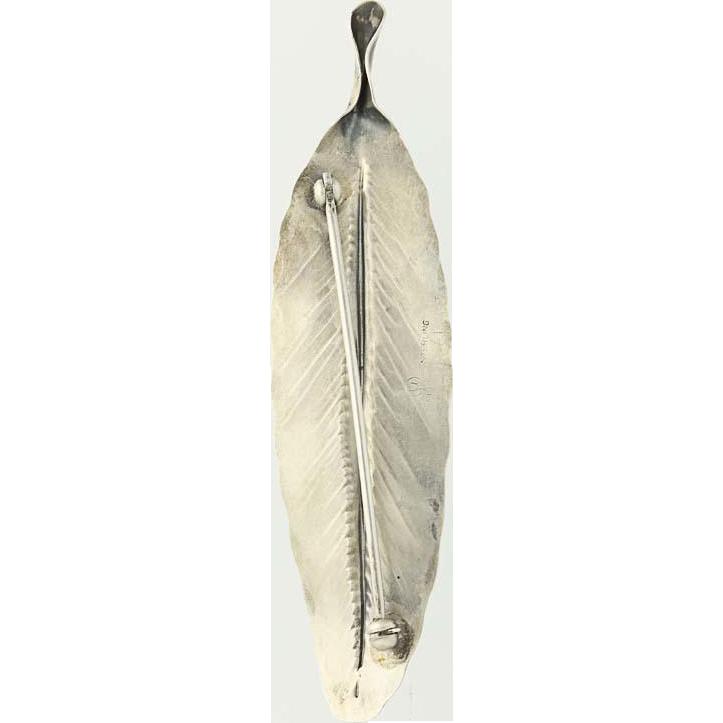 Leaf Brooch - Sterling Silver Floral Handmade Vintage Pin