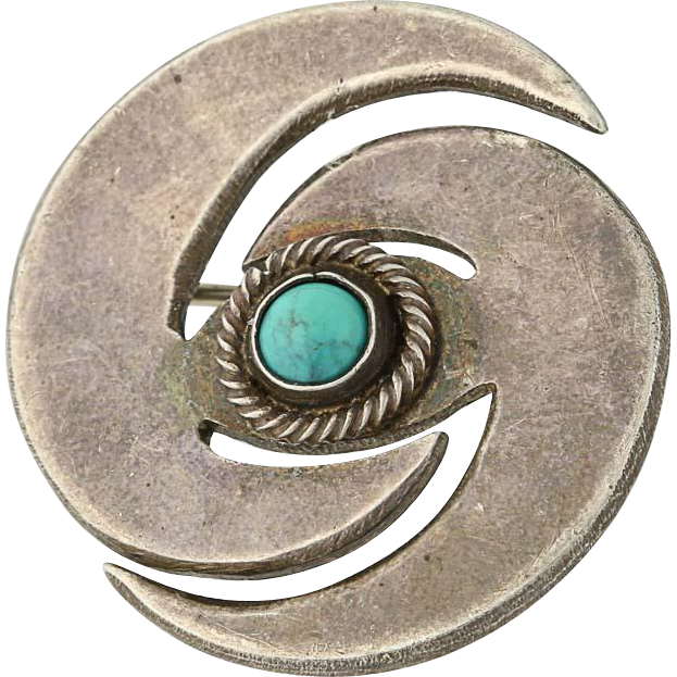 Vintage Native American Brooch - Sterling Silver Turquoise Swirl Pin Solitaire