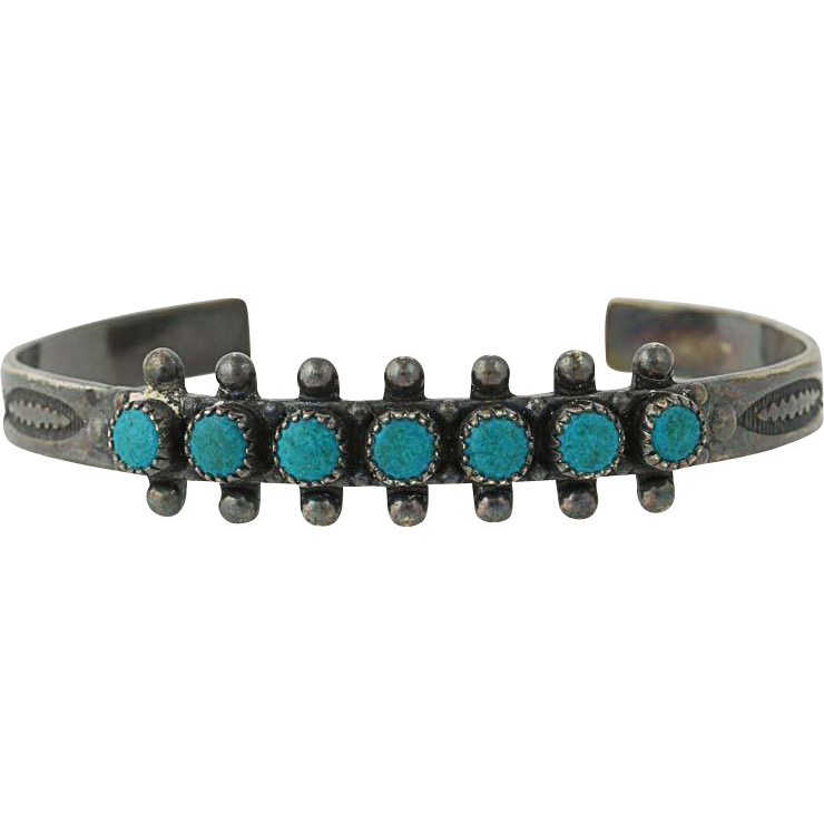 Native American Jewelry - Sterling Silver Turquoise Vintage Cuff Bracelet 5.5""