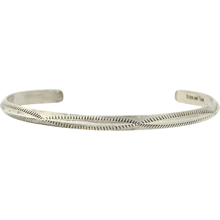 "Native American Navajo Cuff Bracelet - Vintage Sterling Silver Verna Tahe 6.5"""