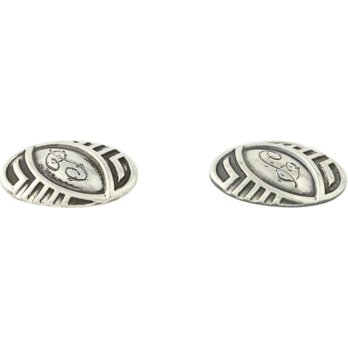 Art Deco Initial P Cufflinks - Sterling Silver 1920s-30s Vintage Men's Letter