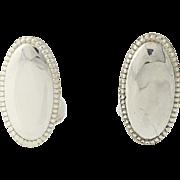 Engravable Cufflinks - Sterling Silver 925 Vintage Oval Men's