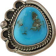 Turquoise Native American Ring - Sterling Silver Size 5.5 Chunky Vintage