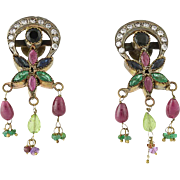 Vintage Chunky Gemstone Flower Earrings - Pierced Amethyst Sapphire Ruby Emerald