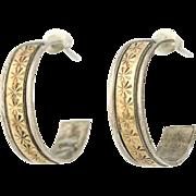 Vintage Native American Hoop Earrings - Sterling Silver 2-Toned Pierced