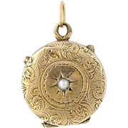 Victorian Era Locket - Gold Filled Two Photo Frames Seed Pearl Accent Antique