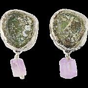 Roman Glass & Amethyst Drop Earrings - Sterling Silver Pierced