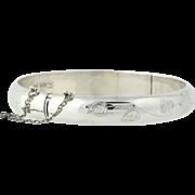 """Floral Bangle Bracelet - Sterling Silver Engraved Flowers 7.25"""" Vintage Women's"""