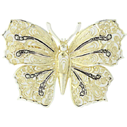 Vintage Butterfly Brooch - Sterling Silver Filigree Germany Pin Marcasites