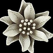 Vintage Flower Pendant - Sterling Silver Floral 3D