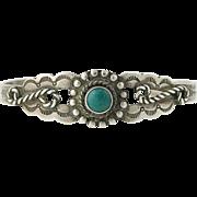 """Southwestern Green Turquoise Cuff Bracelet 6"""" - Sterling Silver Women's"""