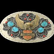 Vintage Harley-Davidson Belt Buckle - Silver Toned & Brass Native American Coral