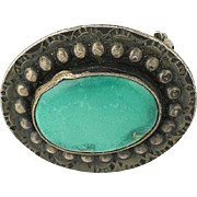 Native American Turquoise Brooch - Sterling Silver Vintage Pin