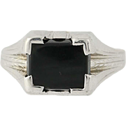 Art Deco Onyx Ring - 10k White Gold Women's Vintage 8 1/4 - 8 1/2