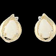 Opal & Diamond Stud Earrings - 14k Yellow Gold Cabochon Cut Pierced .82ctw
