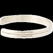 "Native Amerian Navajo Cuff Bracelet Vintage Sterling Silver J Curtis 6.5"" 6.5mm"