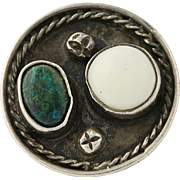 Vintage Native American Ring Sterling Silver Green Turquoise White Shell 7.75-8
