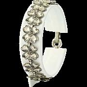 """Vintage Beau Link Bracelet 7"""" - Sterling Silver Dogwood Blossoms"""