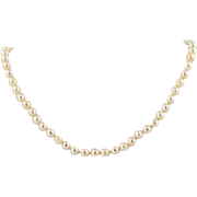"Cultured Pearl Necklace 14"" - 14k White Gold Knotted Strand 5.5mm - 5.8mm"