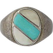 Native American Turquoise & MOP Ring - Sterling Silver Vintage Size 7.75-8