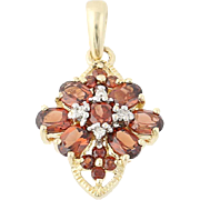 Garnet & Diamond Pendant - 10k Yellow Gold Oval Brilliant 1.50ctw