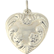 Puffy Floral Heart Charm - Sterling Silver Pendant Love Flowers