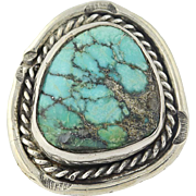 Chunky Turquoise Ring Native American Vintage Size 5.25 Sterling Silver