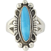 Native American Turquoise Ring - Vintage Sterling Silver Size 4.75-5 Blue Stone