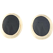 Black Onyx Earrings - 10k & 14k Yellow Gold Oval Cabochon Screw-On Backs Pierced