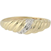 Diamond Accented Baby Ring - 10k Yellow Gold Scalloped Vintage Band