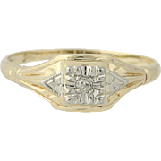 Art Deco Mine Cut Diamond Ring - 10k Yellow White Gold 1920s-30s Women's