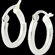 Small Hoop Earrings - 10k White Gold Pierced Snap Bar 14.2mm Polished
