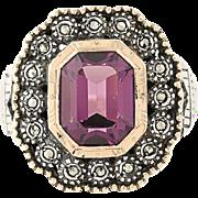 Vintage Cocktail Ring - Sterling Silver 18k Gold Purple Glass Marcasites Halo