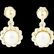 Cultured Pearl Flower Dangle Earrings - 14k Yellow Gold Pierced 6.3mm
