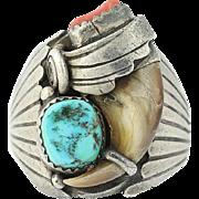Vintage Native American Ring Sterling Silver JLEE Navajo Turquoise Coral 12.25
