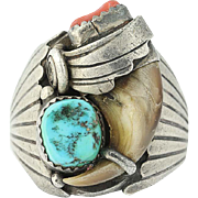 Vintage Native American Ring Sterling Silver JLEE Navajo Turquoise Coral 12.25