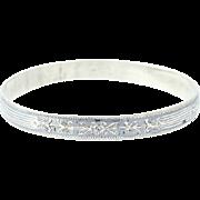 "Vintage Floral Bangle Bracelet - Sterling Silver Niello Flower Etchings 7.75"""
