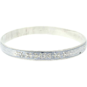 Vintage Floral Bangle Bracelet - Sterling Silver Niello Flower Etchings 7.75""