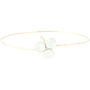 "Vintage Moonstone & Diamond Clover Bangle Bracelet 7 1/4"" - Gold Filled 3.26ctw"