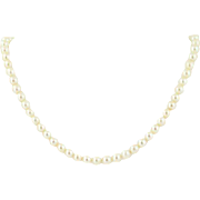 Vintage Pearl Strand Necklace - 14k White Gold Cream Cultured Pearls Filigree