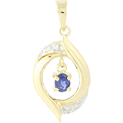 Sapphire Dangle Drop Pendant - 14k Yellow White Gold Diamond Accents 0.21ctw