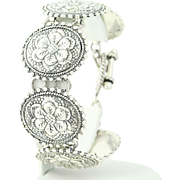 Floral Medallion Bracelet - Sterling Silver Chunky Taxco Mexico Flowers 7.75""