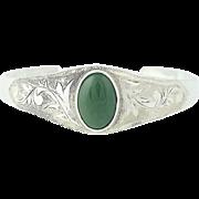 "Nephrite Jade Cuff Bracelet - Hand Engraved Floral Green Stone Vintage 7.5"""