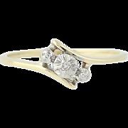 3-Stone Diamond Ring - 10k Yellow White Gold Bypass Band Women's