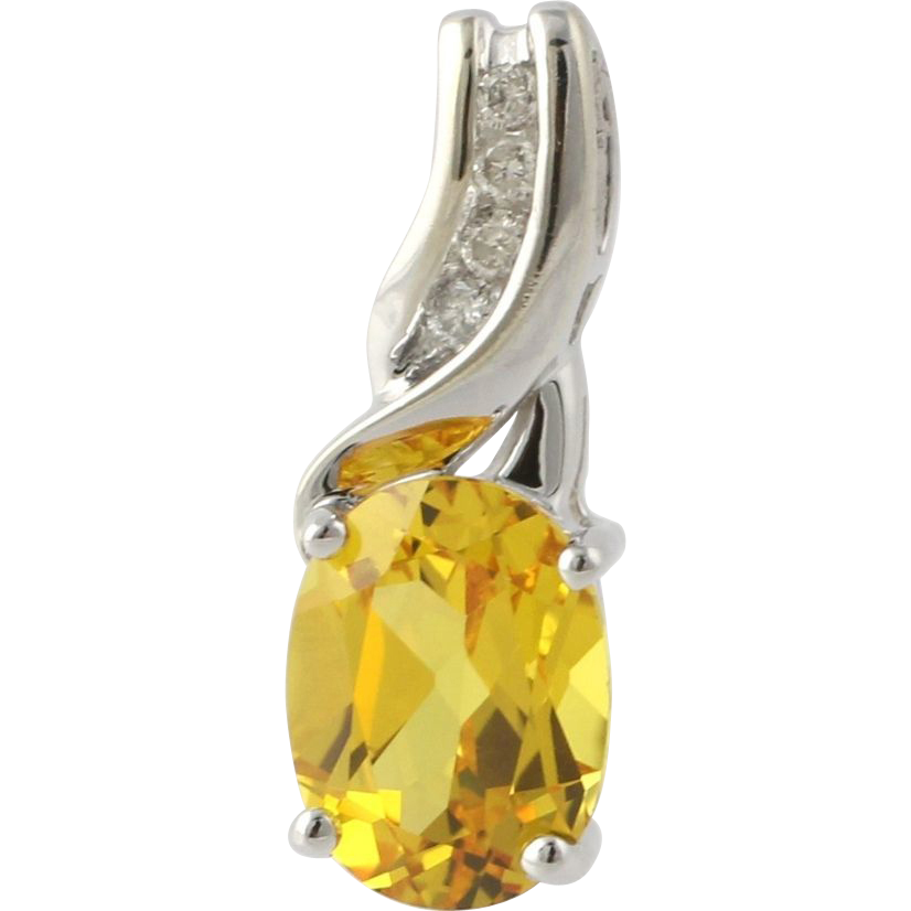 Synthetic Yellow Citrine & Diamond Pendant - 10k Yellow Gold Women's Oval 1.68