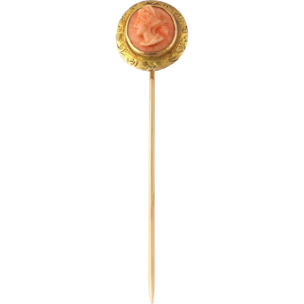 Edwardian Carved Coral Cameo Stickpin - 10k Yellow Gold Vintage
