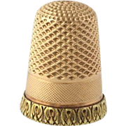 Vintage Thimble - 14k Rose & Yellow Gold Engravable Sewing Collectors Seamstress
