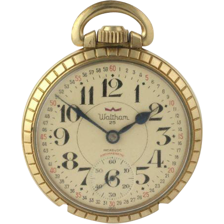 Waltham Vintage Pocket Watch 25 Jewels Antimagnetic 10k Gold Plate Men's Runs